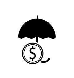 Umbrella and money coin icon vector