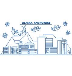 Usa alaska anchorage winter city skyline merry vector