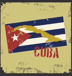 Vintage style cuba map cuba flag vector