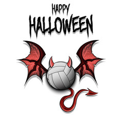 Volleyball ball with horns wings and devil tail vector