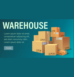 warehouse banner with pile stacked sealed goods vector image