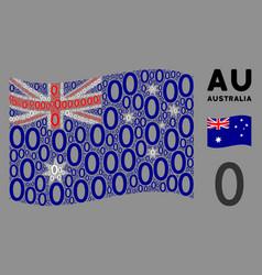 Waving australia flag pattern zero digit items vector