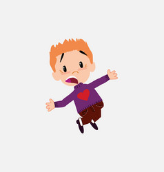 white boy with a heart pullover jumping terrified vector image