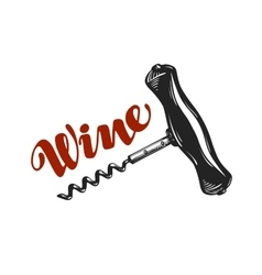 Wine logo Corkscrew winery icon or symbol vector image