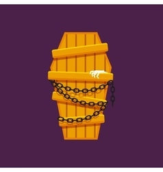 Wooden coffin with chains for halloween in a flat vector image