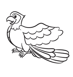 Cartoon of cute parrot outlined vector image vector image