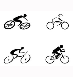 cyclist icons vector image vector image