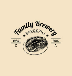 kraft beer logo old brewery icon hand sketched vector image
