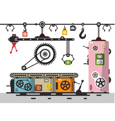 line of production factory interion with cogs vector image vector image