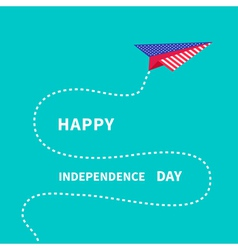 Paper plane with dash line Happy independence day vector image