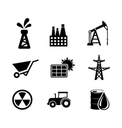 Set of black and white industrial icons vector image vector image