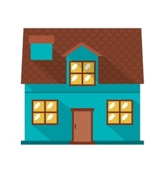 facade confortable house with two floors vector image vector image