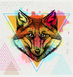 hipster animal fox on artistic polygon watercolor vector image
