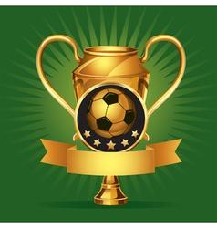 Soccer golden award trophy and medal vector image vector image