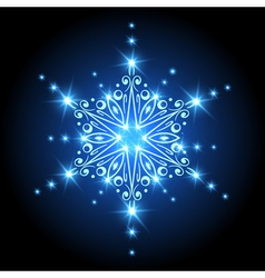 Magic Christmas Snowflake with glowing stars Xmas vector image vector image