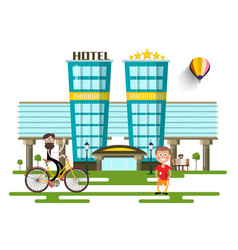 modern hotel buildings flat design city with vector image vector image
