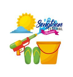 songkran festival thailand bucket water weapon vector image vector image