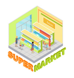 supermarket juices department isometric vector image vector image