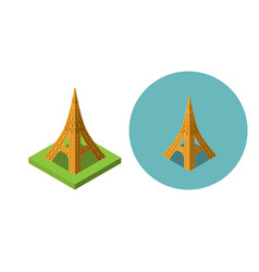eiffel tower icons in flat isometric style vector image vector image