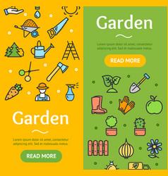 gardening banner vecrtical set vector image vector image