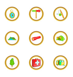 hiking icons set cartoon style vector image