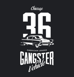 Vintage gangster vehicle logo vector