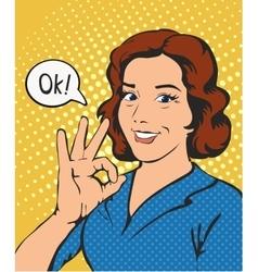 Woman says okay success pop art comics retro style vector image vector image
