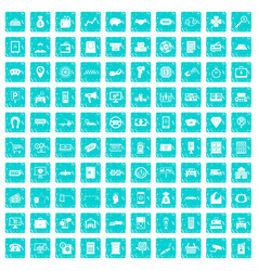 100 coin icons set grunge blue vector