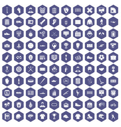 100 mens team icons hexagon purple vector