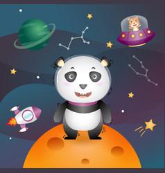 A cute panda in space galaxy vector