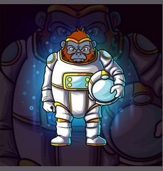 Astronaut gorilla esport mascot design vector
