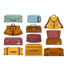 baggage backpack and handbag suitcases luggage vector image
