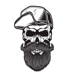 bearded skull in baseball cap in engraving style vector image