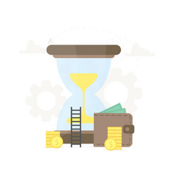 Big hourglass with wallet and coins near it vector