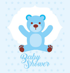 blue toy bear baby shower invitation card vector image