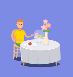 Boy sitting at table in backery shop with sweets vector