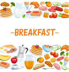 Breakfast page template food design vector
