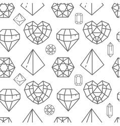 brilliants and gem stones crystals line art vector image