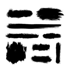 brush strokes set black hand paint streaks vector image