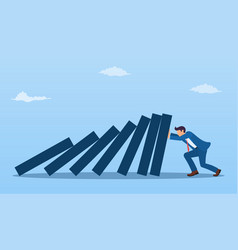 Businessman pushing against falling deck domino vector