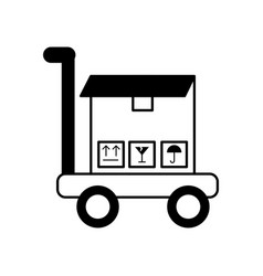 Cart with boxes carton delivery icon vector