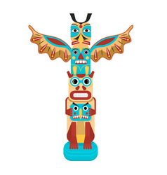 cartoon color traditional religious totem pole vector image
