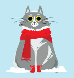 cartoon portrait of a smiling cat in the snow vector image vector image