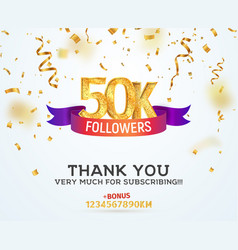 celebrating 50k followers with color bright ribbon vector image