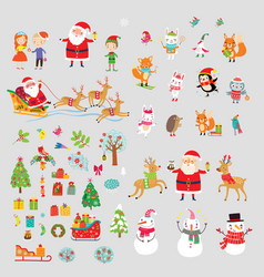 christmas elements and characters vector image