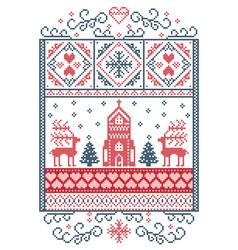 christmas scenery with reindeer chapel vector image