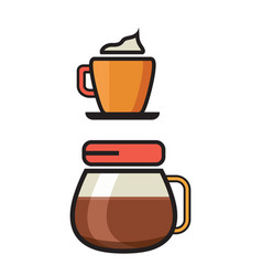 Coffee icon - filter coffee icon - flat coffee vector