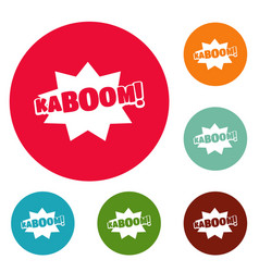 Comic boom kaboom icons circle set vector