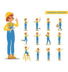 construction female worker character design vector image