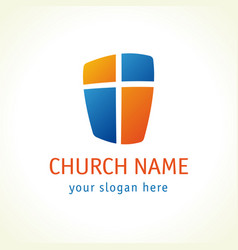 Cross on shield church logo vector